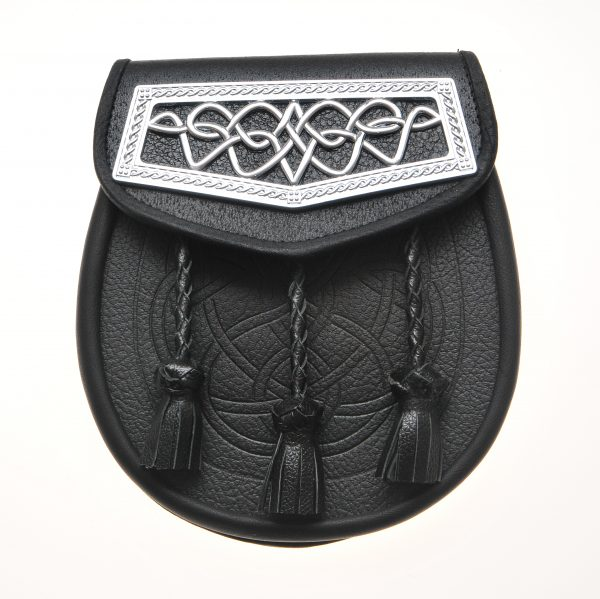Day Wear Sporran - Black Cowhide with Celtic Knot-0